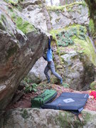 Rock Climbing Photo: Big first move from a high-tension position- Greg ...