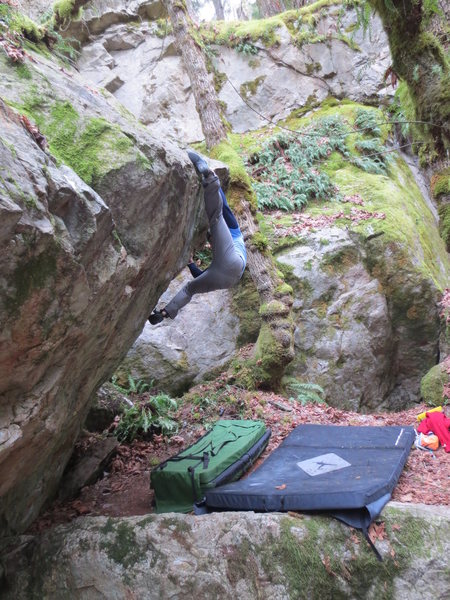 Rock Climbing Photo: Greg B. working for a match to set up the upper mo...
