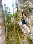 Rock Climbing Photo: Fun dynamic reach.