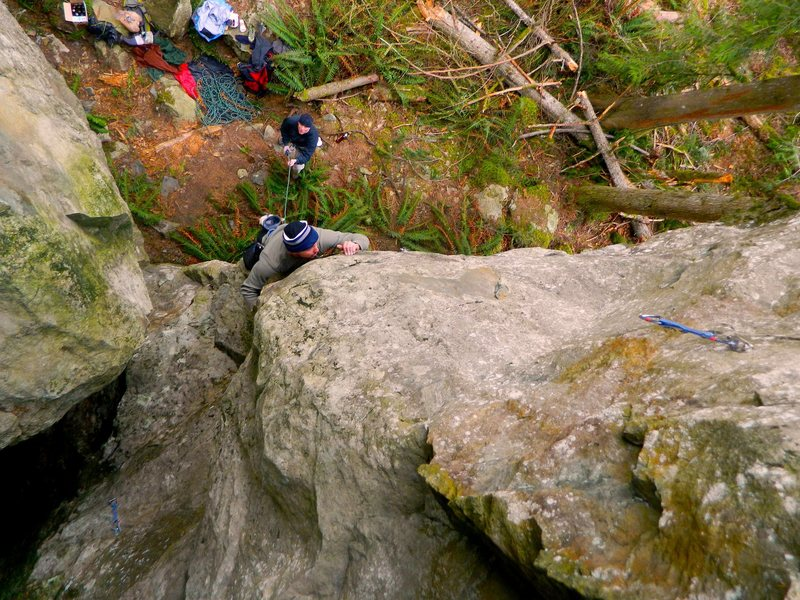 Low on the arete.