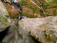 Rock Climbing Photo: Low on the arete.