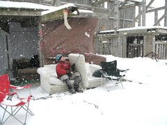 Rock Climbing Photo: Belay couch, with snow shield cushion in place. Bl...