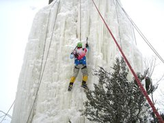 Rock Climbing Photo: Thick ice, deep snow, falling ice in the cold temp...