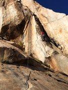 Rock Climbing Photo: Starting up the super balance-intensive arête bef...