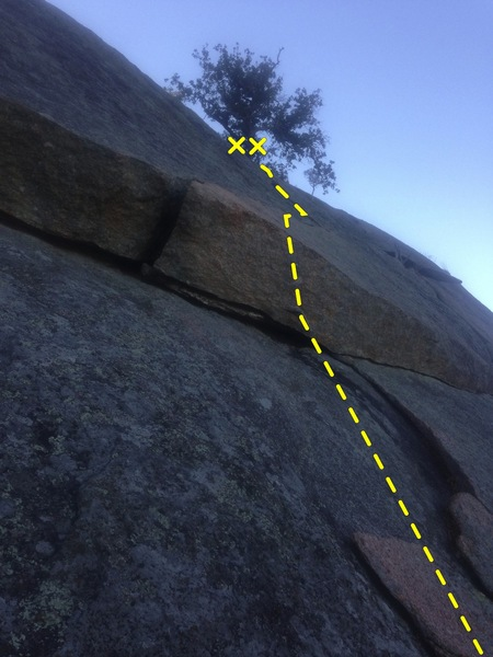 Walter Funkite. You are following a wide #4 size crack above the overlap. It's hard to see in the pick because the yellow dotted line is hiding it.