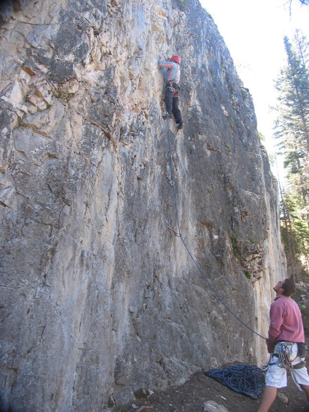 Rock Climbing Photo: Woody leaving the ledge of Zachademia Dementia