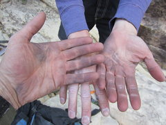 Rock Climbing Photo: After a day on Black Velvet. Beat? Sure. Happy? In...