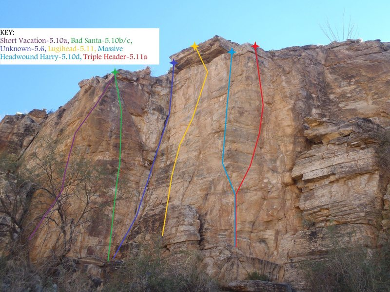 Rock Climbing Photo: SECTION DETAIL: Main Wall Right: Short Vacation th...