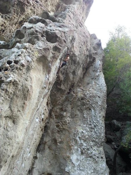 Hitting the first gaston of the crux. Time to bear down...
