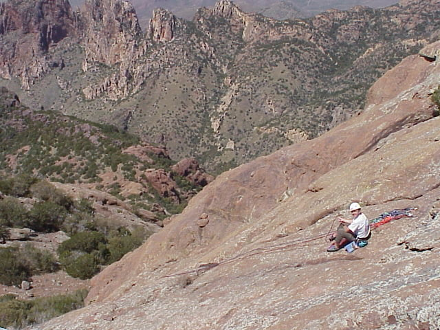Belaying at the top of the slab on pitch2.