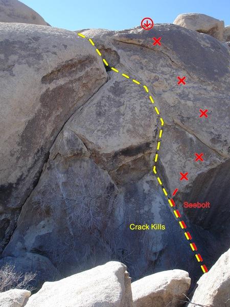 Rock Climbing Photo: Seebolt (11b) and Crack Kills (10c).  Photo: Adam ...