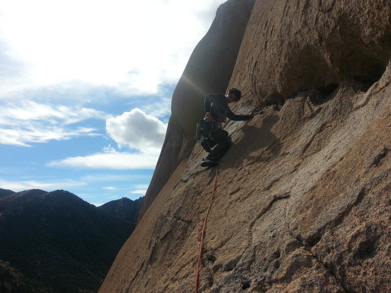 Rock Climbing Photo: Austin working left  to a bolt and thin vertical f...