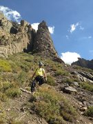 Rock Climbing Photo: Looking up towards the start of the route. With Do...