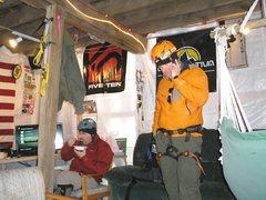 Rock Climbing Photo: in the warming hut.