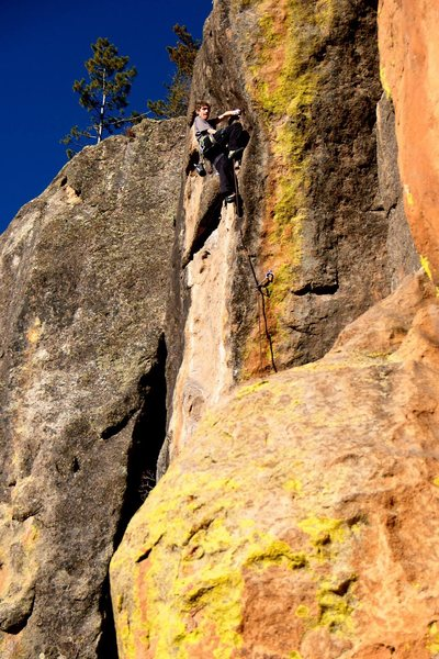 Rock Climbing Photo: Daniel above the crux on the arete and into the po...