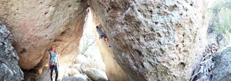 Rock Climbing Photo: Panorama shot of Lean to Boulder