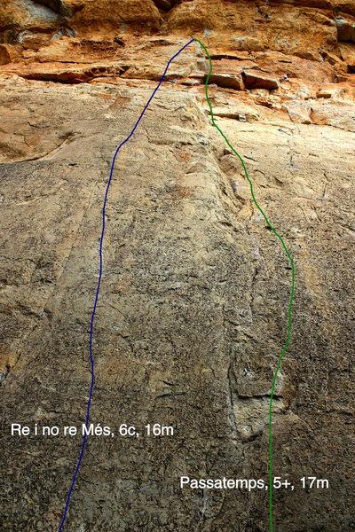 Rock Climbing Photo: Rei i no re Més 6c on left, Passatemps 5+ on righ...