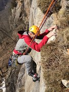 Rock Climbing Photo: Mike with a text book road runner mantel at the to...