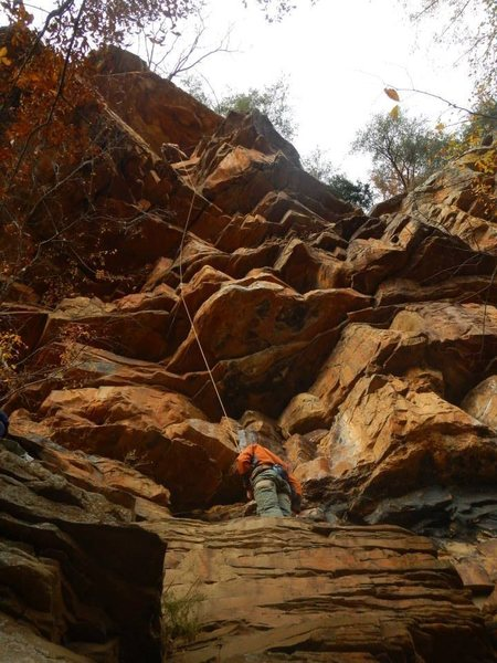 Rock Climbing Photo: Mason Mayer after pulling the roof. Onsight on a s...