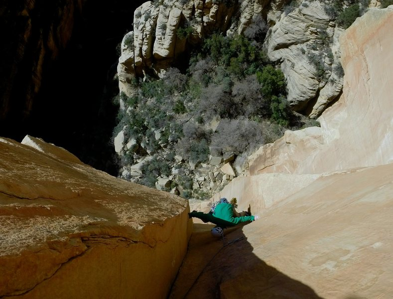 Cody Blair on Shangri-La; a perfect bit of sandstone in an amazing place..
