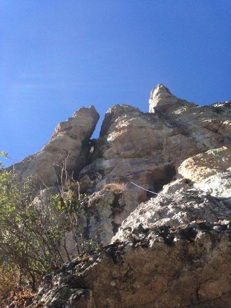 Rock Climbing Photo: 1sr pitch up the chimney