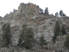 Rock Climbing Photo: A topo of a possible line.  Expect up to 5.8+ clim...