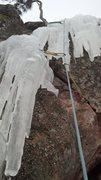 Rock Climbing Photo: Crux of pitch three.