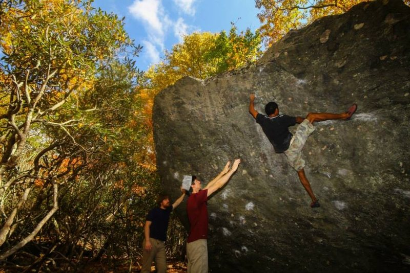 Ronnie on Crazy Horse, Picnic Boulder. CJ Yunger photo.