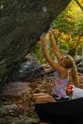 Rock Climbing Photo: Brianna Knaggs starting Indian Outlaw. CJ Yunger p...