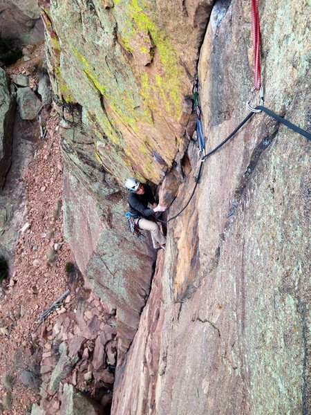 Rock Climbing Photo: Kasi cleaning up the first pitch of Calypso.