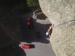 Rock Climbing Photo: Kasi nearing the top of the Needle's Eye.