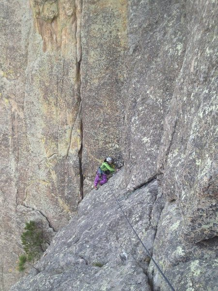 Kasi nearing the top of P1 on Garfield Goes to Washington. Really love this pic, gives you an idea of the positioning you are in climbing this route. Great route!