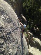 Rock Climbing Photo: Kasi nearing the top of Star Dancer. Great face cl...