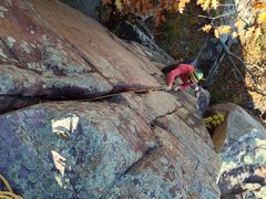 Rock Climbing Photo: Stew of HWDAMF cleaning up Whipping Boy on a crisp...