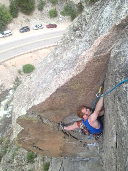 Rock Climbing Photo: Keller cleaning up the [Cosmosis]. A super fun rou...