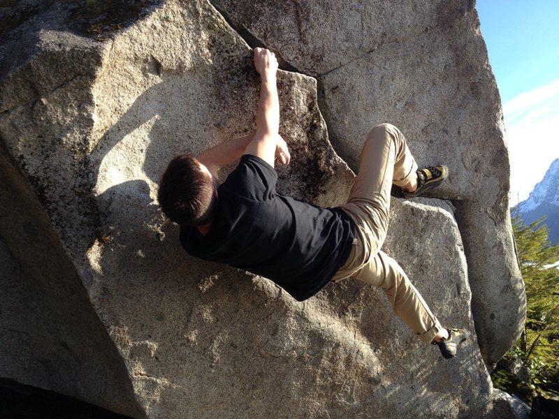 Rock Climbing Photo: Myself climbing Clefs Crack (V0). A fun easy climb...