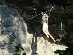 Rock Climbing Photo: A close-up of Vitek doing the bat hang.