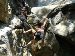 Rock Climbing Photo: Jenny Chin pulling the little mantle...