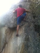 Rock Climbing Photo: Big step up the right route. Don't fall into the s...