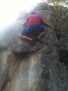 Rock Climbing Photo: After pulling up and getting the feet on a nice fe...