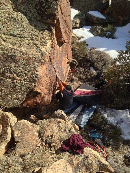 Rock Climbing Photo: Starting The Grass is Better Blue.