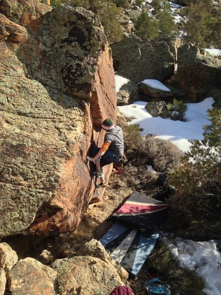 Rock Climbing Photo: Moving into the undercling. After that it's cake.