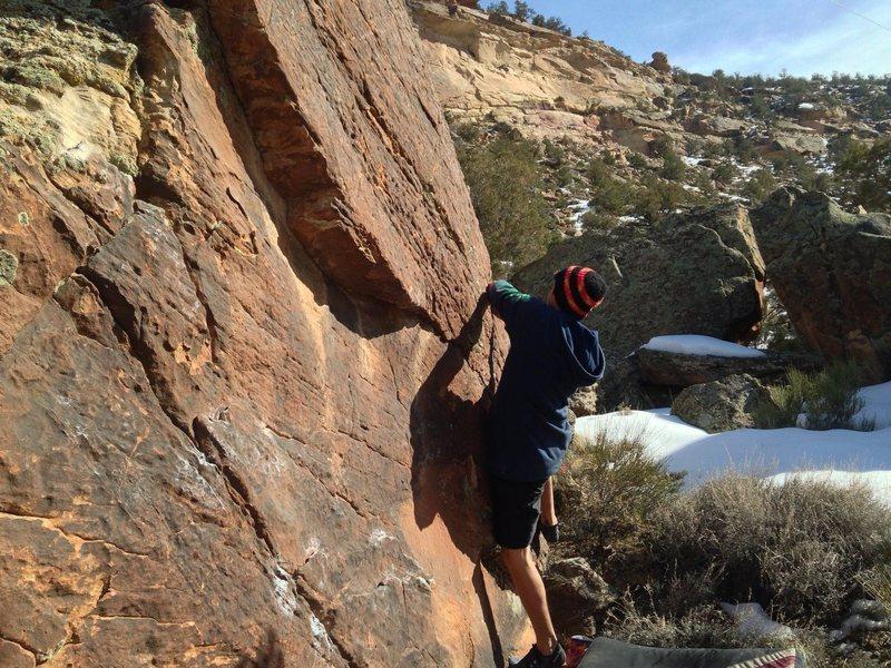 Rock Climbing Photo: Kody on the beginning moves.