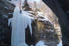 Rock Climbing Photo: Dan, in plastic ice near the top