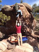 Rock Climbing Photo: Me getting ready to top it out on a nice mid-Feb. ...