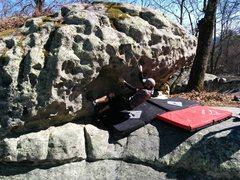 Rock Climbing Photo: First move of Schadenfreude
