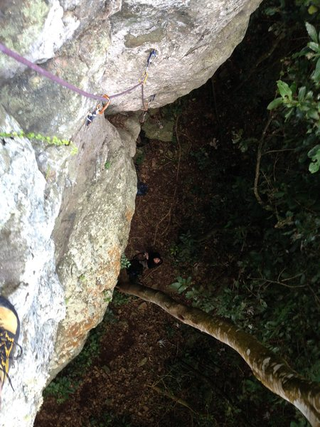 Looking down Push to Unlock just below the crux.