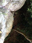 Rock Climbing Photo: Looking down Push to Unlock just below the crux.