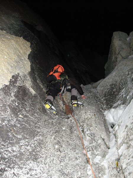 Lower rock section getting into to the couloir April  2007