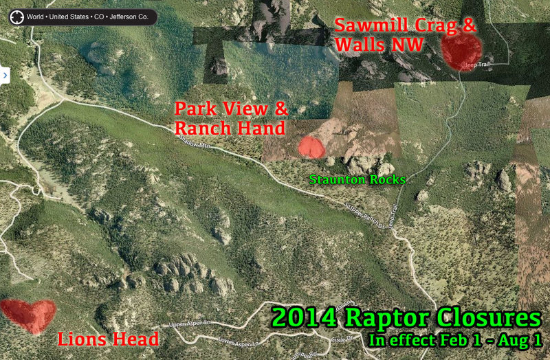 Map of 2014 Raptor Closures<br> Feb. 1- Aug. 1<br> <br> - Lion's Head<br> - Park View Dome<br> - Ranch Hand Dome<br> - Sawmill Area<br> <br> Map courtesy of Bing Maps.<br> <br> Note: The Ranch Hand and Park View Dome Closure has been lifted as of 5/8/14.